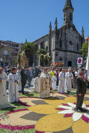 Ponteareas, Pontevedra, Spain; 06 02 2013: procession of the Corpus Christi of Ponteareas