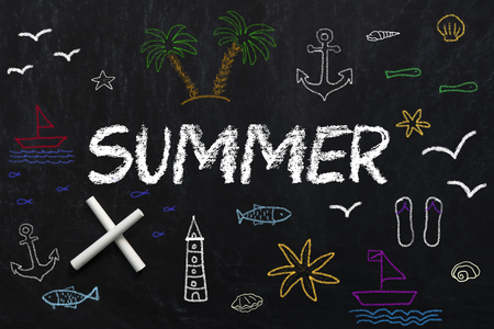 Summer text and symbols of summer drawing on black chalkboard Archivio Fotografico - 103600375