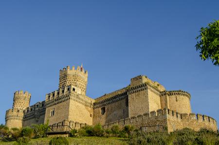 Castle of the Mendoza in Manzanares el Real at sunrise,Madrid Spain