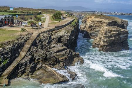 Cliffs of the coast of Ribadeo, Playa de las Catedrales, Lugo Spain