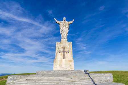 Jesus Sacred Heart monument at Naranco mountain Oviedo city in Asturias Spain Imagens