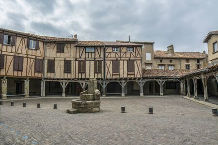 Lautrec (Tarn, Midi-Pyrenees, France), medieval village with half-timbered buildings