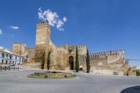 Carmona, Sevilla, Spain, July 217: View at the Sevilla gate in Carmona. Carmona is a town of south-western Spain, in the province of Seville.