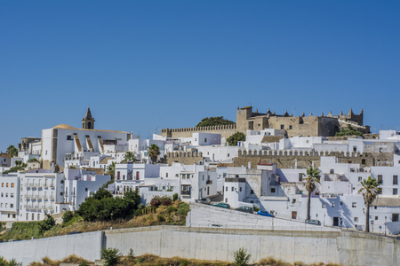 View of the white washed houses of Vejer de la Frontera in Andalusia 写真素材