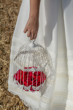 Close-up of the hand of a girl dressed in first communion with a vintage birdcage with red roses