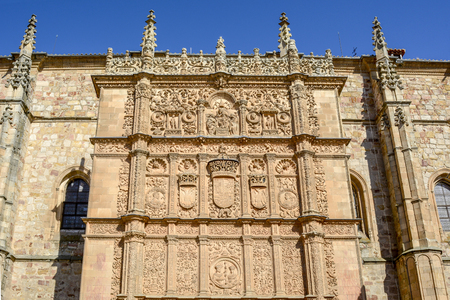 Plateresque facade detail of the historic building of the University of Salamanca, Spain