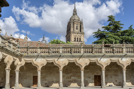 Courtyard of famous University of Salamanca, the oldest university in Spain and one of the oldest in Europe, in Salamanca, Castilla y Leon region, Spain