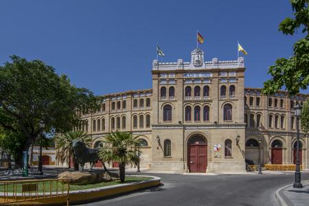 Puerto de Santa Maria,  Cadiz, Spain, July 2017: main entrance of the bullring of El Puerto de Santa Maria Cadiz
