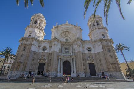 Cadiz, Spain, July 2017: Santa Cruz Cathedral in Historic centre of the Cadiz city, at sunny day in Cadiz Andalucia, Spain