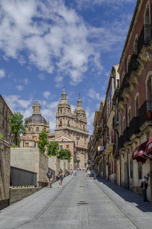 Salamanca, Spain, August , 2013: Towers of the Clerecia church from San Pablo street in Salamanca, Spain