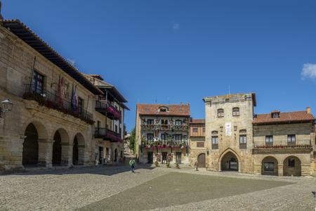 Santillana del Mar, Cantabria, Spain; September 2015: Typical architecture in the main square of Santillana del Mar