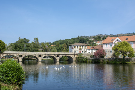Ancient bridge and village of Arcos de Valdevez, in Minho, Portugal Stock Photo