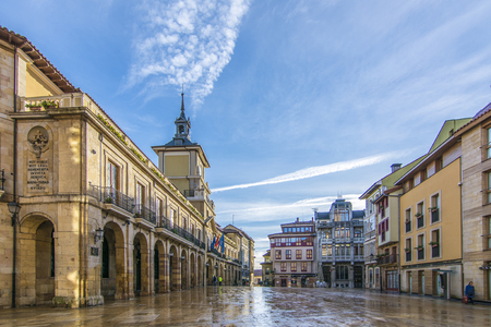 Oviedo, Asturias, Spain; January 2016: The Constitution Square is the Main square of Oviedo, it hosts the city hall of the city, in the province of Asturias, Spain