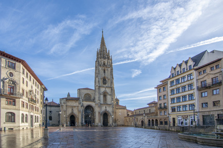 Oviedo, Asturias, Spain; January 2016: The Cathedral of Oviedo, Spain, was founded by King Fruela I of Asturias is located in the Alfonso II square.