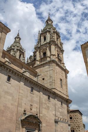 Salamanca, Spain; May 2018:  Famous Casa de las Conchas with La Clerecia Church in Salamanca,  Spain