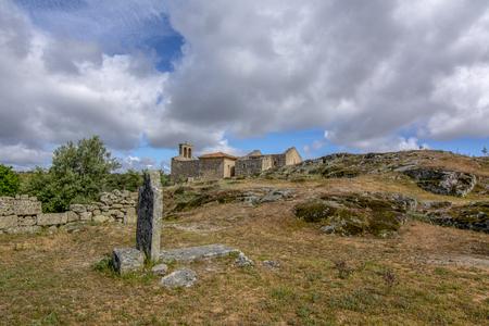 Ruins of XIII century Romanesque style church, Igreja de Santa Maria do Castelo in historical village Castelo Mendo in Portugal