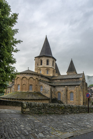 :View to Abbey of Saint-Foy at Conques, France