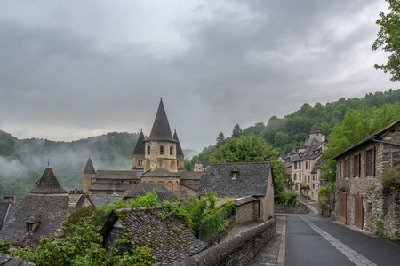 View to Abbey of Saint-Foy at Conques, France