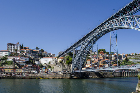 view of Old Town of Porto, Portugal. Ribeira and Douro river