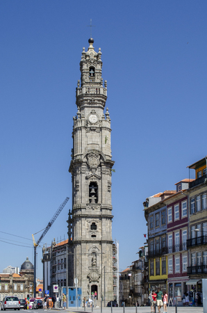Porto, Portugal - August  2014: The Clerigos Tower is one of the most emblematic monuments of the Porto city.