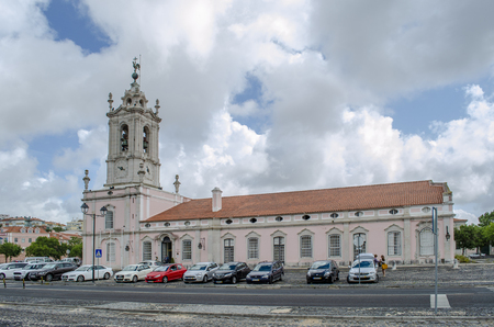 Queluz, Portugal - July  2014: The Pousada of D. Maria is part of the Pousadas de Portugal network of lodgings, housed in the historical servants quarters of the Queluz National Palace. Редакционное
