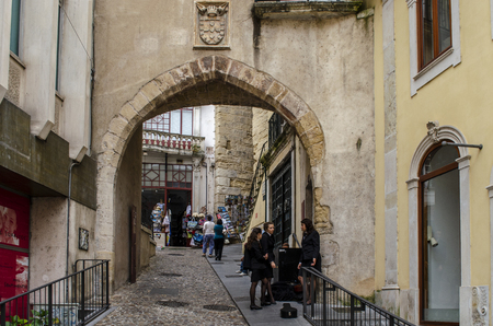 Coimbra, Portugal - July  2014: arch gates in hoistorical center of Coimbra,