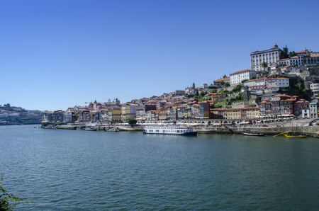 Porto, Portugal - August  2014: view of Old Town of Porto, Portugal. Ribeira and Douro river