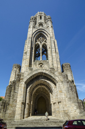Carballino, Ourense, Spain.; August  2014: Facade of Veracruz Catholic Church in Carballino, Ourense, Galicia, Spain. Architecture Galician granite bell tower.