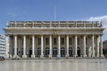 Bordeaux, Aquitaine, France; September 2014: Facade of the national  opera of Bordeaux, France Редакционное