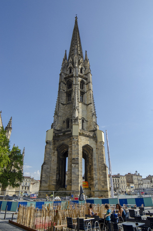 Bordeaux, Aquitaine, France; September 2014:  Beautiful blue sky at Basilique Saint-Michel is one of the most famous attractions of the city, Bordeaux, France