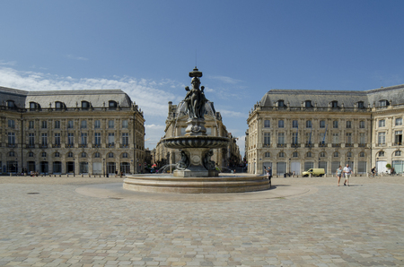 Bordeaux, Aquitaine, France; September 2014: Place de la Bourse is one of the most visited sights in the city of Bordeaux Редакционное