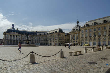 Bordeaux, Aquitaine, France; September 2014: Place de la Bourse is one of the most visited sights in the city of Bordeaux, France