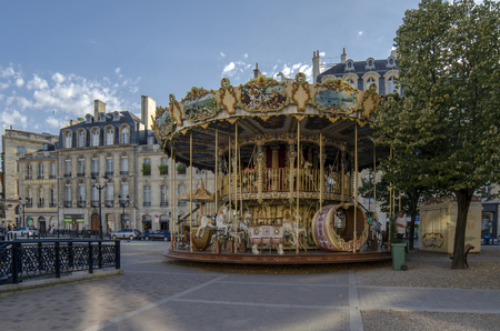 Bordeaux, Aquitaine, France; September 2014:  vintage carousel attraction in the park in the Bordeaux city centre