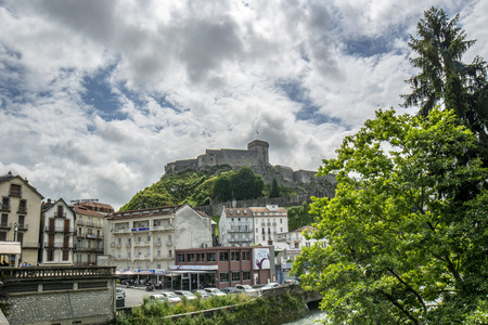 Lourdes, Midi-Pyr?n?es, France; June 2015: The chateau fort of Lourdes is a historic castle located in Lourdes in the Hautes-Pyrenees departement of France. Musee Pyreneen is located in the fort.