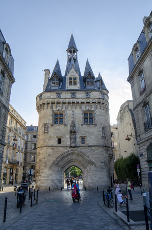 Bordeaux, Aquitaine, France; September 2014:  La Porte Cailhau tower gate in Bordeaux in a beautiful summer day, France
