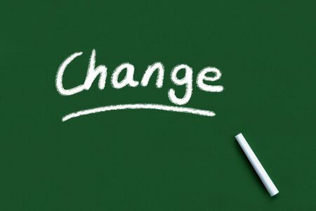 Change handwritten and underlined on blackboard or chalkboard