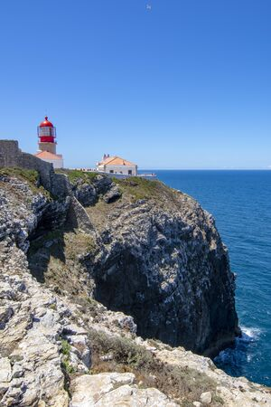 tourists visiting the fortress of the Lighthouse of Cabo Sao Vicente of Sagres, in the Algarve, in the south of Portugal
