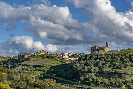 Panoramic view of the town of Alcantara in the province of Caceres, Spain