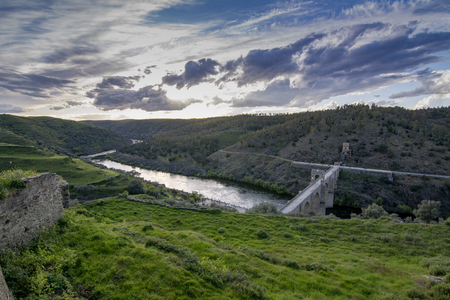 Panoramic view of the roman bridge of Alcantara in the province of Caceres, Spain