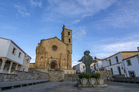 San Pedro statue in the square Spain of Alcantara province of Caceres