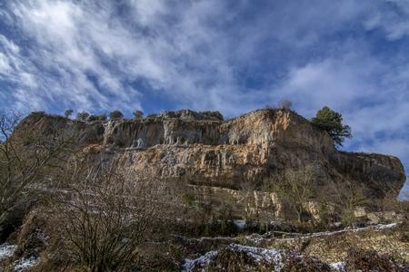 Point of view of Canyon Ebro river in Orbaneja del Castillo in province of Burgos. Spain Stock Photo