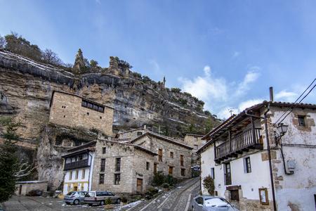 Orbaneja del Castillo , Burgos, Spain; January 2017: Village of Orbaneja del Castillo in the province of Burgos one winter day Editorial