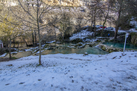 sight of the cascades that cross the town of Orbaneja del Castillo in province of Burgos , Spain