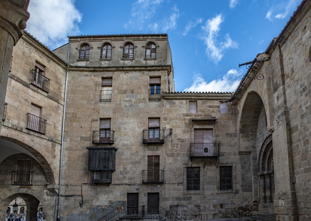 Salamanca, Spain; January, 2019: square of Corrillo and entrance of the church of San Mart?n, in the historic center of Salamanca, UNESCO World Heritage Site Editorial