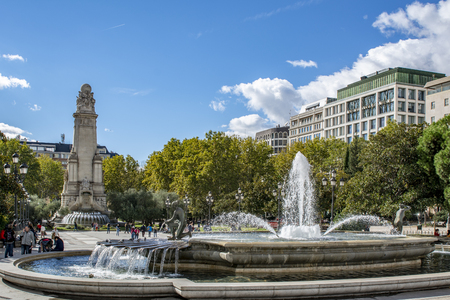 Madrid Spain; November 2018: Spain Square, the popular tourist destination at the western end of the Gran Via avenue features a monument to Miguel de Cervantes Saavedra in Madrid, Spain Editorial