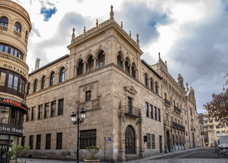 Salamanca, Spain; January, 2019: Palace of Alonso de Sol?s in the historic center of Salamanca, UNESCO World Heritage Site