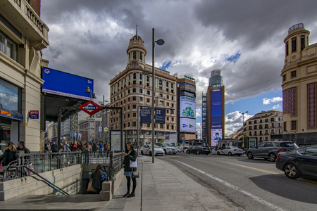 Madrid Spain; November 2018: Tourists in the Square of the Callao in the historic center of Madrid Editorial