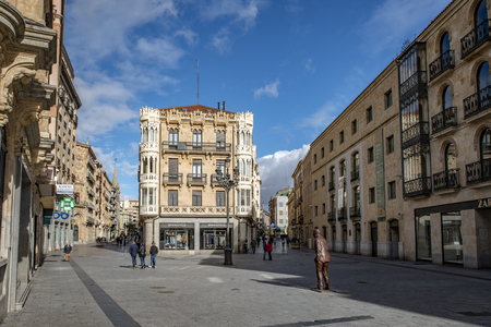 Salamanca, Spain; January, 2019: square of Liceo and Pedestrian street leading to the Main Square  in the historic centre of Salamanca,    Heritage Site
