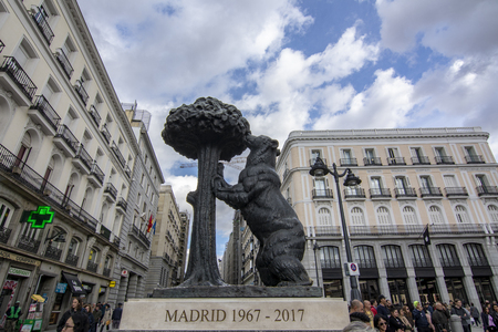 Madrid Spain; November 2018:  Symbol of Madrid - statue of Bear and strawberry tree,in square of Puerta del Sol