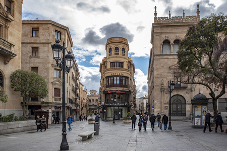 Salamanca, Spain; January, 2019: Pedestrian street leading to the Main Square  in the historic centre of Salamanca,    Heritage Site